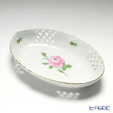 マイセン (Meissen) ピンクのバラ 020110/54907 レースボウル 楕円 25cm【楽ギフ_包装選択】 プレート 皿 食器 おしゃれ ブランド