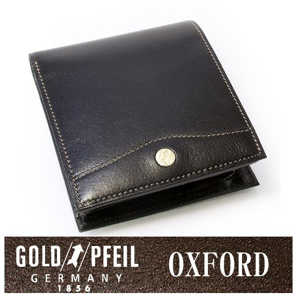 プレリー財布 GOLD PFEIL 「ゴールドファイル」 【ブラック】オックスフォード レザー ドイツ 二つ折り財布(小銭入れあり) 牛革 本革 ウォレット【楽ギフ_包装選択】