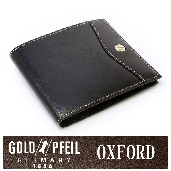 プレリー財布 GOLD PFEIL 「ゴールドファイル」 【ブラック】オックスフォード レザー ドイツ 二つ折り財布(小銭入れなし)小型 牛革 本革 ウォレット【楽ギフ_包装選択】