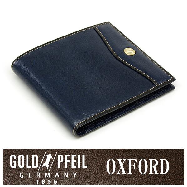 プレリー財布 GOLD PFEIL 「ゴールドファイル」 【ネイビー】オックスフォード レザー ドイツ 二つ折り財布(小銭入れなし)小型 牛革 本革 ウォレット【楽ギフ_包装選択】