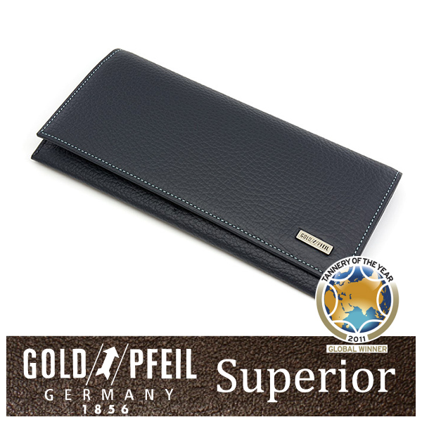【送料無料】【ネイビー】Superior レザー アンティーク染め 長財布 「ゴールドファイル」 牛革 本革 ウォレット【楽ギフ_包装選択】