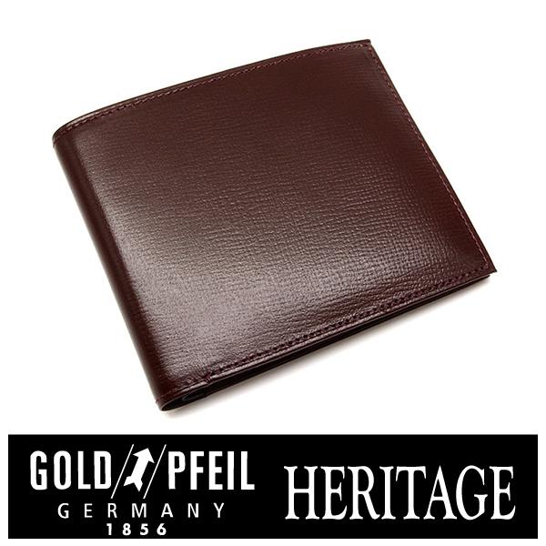 プレリー財布 GOLD PFEIL 「ゴールドファイル」 【バーガンディ】HERITAGE レザー 型押し 二つ折り財布(小銭入なし) 牛革 本革 ウォレット【楽ギフ_包装選択】