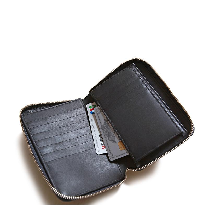 ITTIイッチCRISTYSTUFFINGMIDWLTクリスティスタッフィングミドルウォレット長財布二つ折り財布ラウンドジップ黒桟革本藍ITTI-WLT-002.5-E