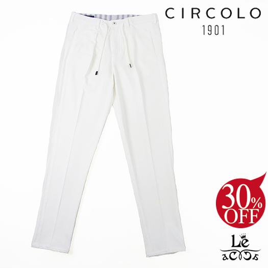 【New Arrival】CIRCOLO 1901 チルコロ コットンピケ スラックス ACU217901 ドローコード 無地 ホワイト 白 ワンプリーツ メンズ 春夏モデル 国内正規品 29160【送料無料】