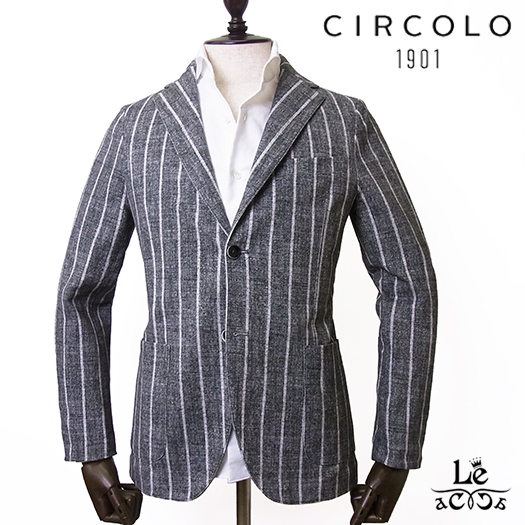 【New Arrival】CIRCOLO 1901 チルコロ ワイドストライプ コットンピケ ジャケット ACU222111 CN2221 シングル ブラックグレー メンズ 春夏モデル 国内正規品 69120【送料無料】