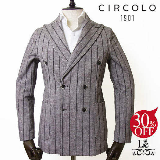 【New Arrival】CIRCOLO 1901 チルコロ ストライプ コットンピケ ダブルジャケット CN2223 ベージュ ブラウン メンズ 春夏モデル 国内正規品 73440【送料無料】