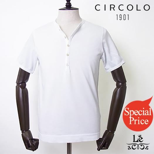 【New Arrival】CIRCOLO1901 チルコロ ヘンリーネック カットソー ACU228434 Tシャツ 半袖 コットン 無地 ホワイト 白 紳士服 春夏モデル 国内正規品 15120
