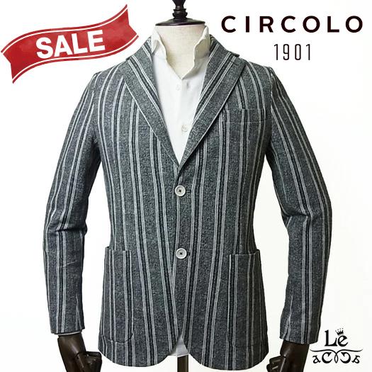 【40%OFF】CIRCOLO 1901 チルコロ ストライプ ライトピケ ジャケット CN2604 シングル 無地 ブラック 黒 メンズ 春夏モデル 国内正規品 69300【送料無料】