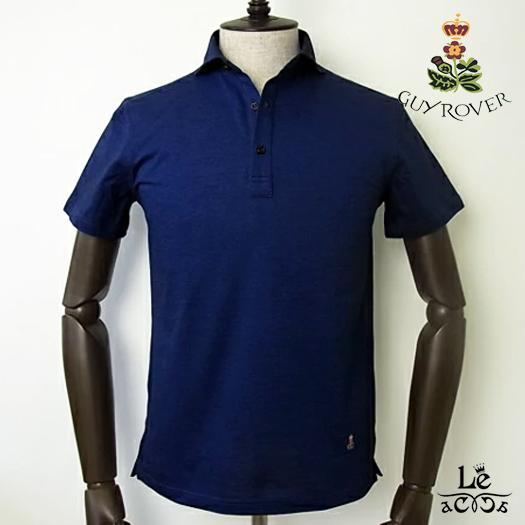 GUYROVER ギローバー ワイドカラー ポロシャツ PC207 半袖 無地 ブルー 鹿の子 台襟付き メンズ イタリア製 国内正規品 15120