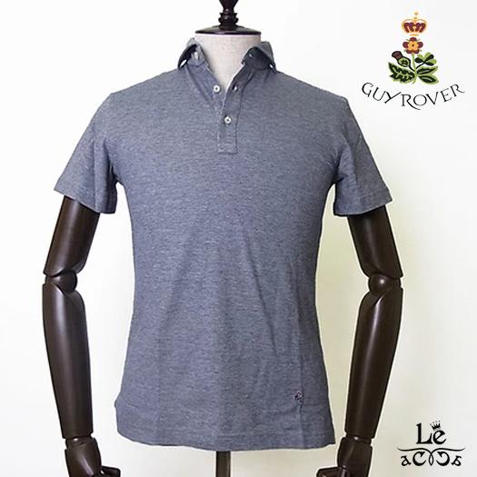 GUYROVER ギローバー ワイドカラー ポロシャツ PC207 半袖 無地 ダークグレー 鹿の子 台襟付き メンズ イタリア製 国内正規品 15120