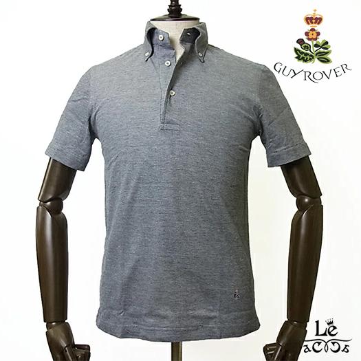 GUYROVER ギローバー ボタンダウン ポロシャツ PC224 半袖 鹿の子 ビジネスポロシャツ ビズポロ ダークグレー 無地 イタリア製 国内正規品 15120