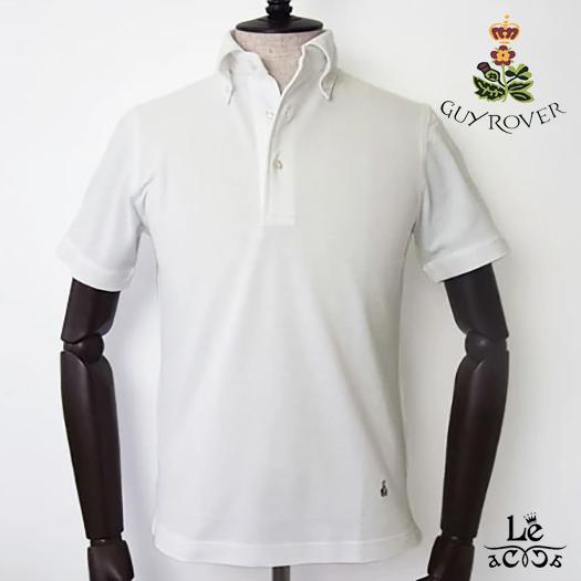 GUYROVER ギローバー ボタンダウン ポロシャツ PC224 半袖 鹿の子 ビジネスポロシャツ ビズポロ ホワイト 白 無地 イタリア製 国内正規品 15120