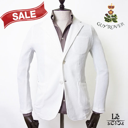 【50%OFF】GUYROVER ギローバー ジャージージャケット ホワイト 白 イタリア製 秋冬モデル 国内正規品 36300【送料無料】