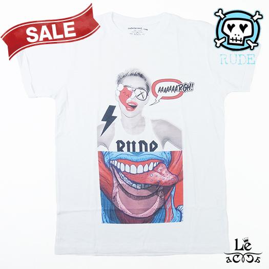 【Special price】RUDE ルード Tongue-BLACK メンズ Tシャツ ロック パンク 半袖 クルーネック ホワイト 白 パロディ イタリア製 春夏モデル 国内正規品 9900