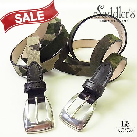 Saddler's/サドラーズ/カモフラ柄レザーベルト/迷彩/スウェード/スエード/牛革/カーフ/アイボリー/グリーン/イタリア製/専用ケース付/11880