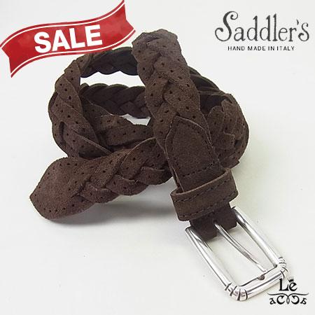Saddler's サドラーズ スウェードメッシュベルト パンチング スエード G379 牛革 カーフ ブラウン こげ茶 イタリア製 16740【送料無料】