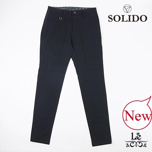 【New Arrival】SOLIDO ソリード 度詰め鹿の子パンツ BULINO スラックス 無地 ブラック 黒 メンズ 日本製 春夏モデル 国内正規品 28080【送料無料】