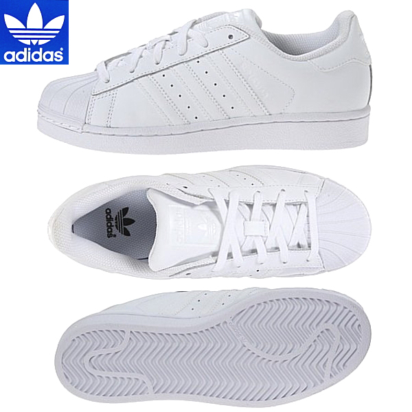best service fe03b f2140 Adidas Superstar adidas SUPERSTAR FOUNDATION J [B23641] white Womens  sneakers-