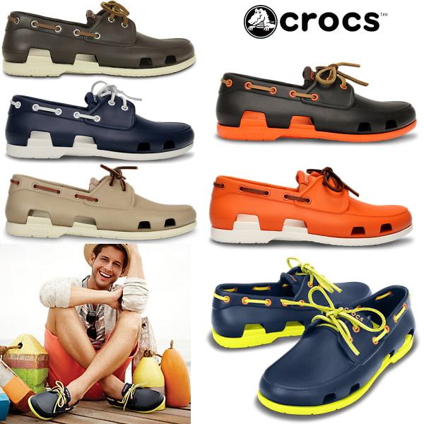Crocs men's Sandals beach boat shoe men crocs beach line boat shoe men 14327 men's lightweight deck shoes shoes-