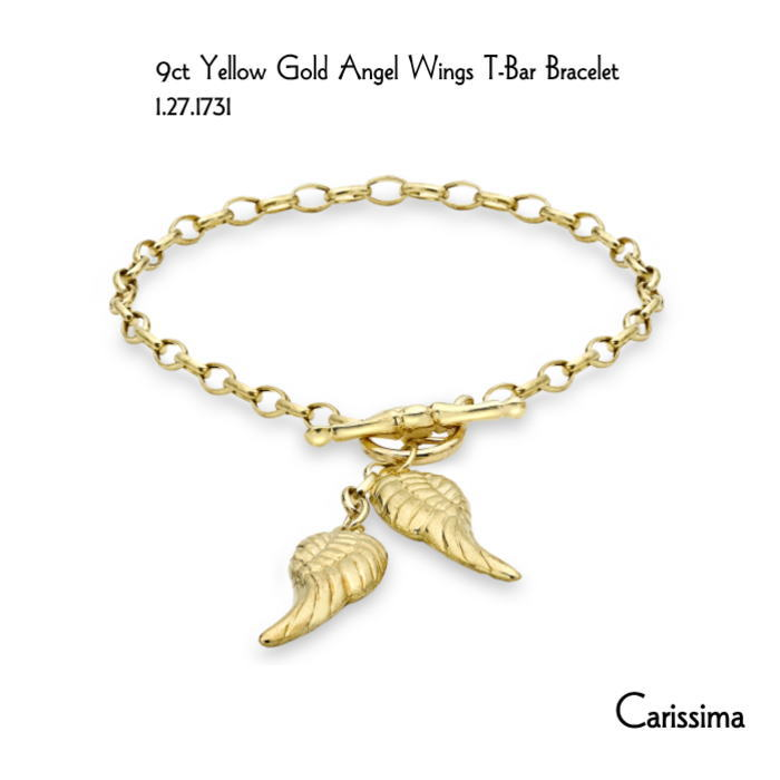 【英国Carissima Gold(カリッシマゴールド】 <日本向け新商品 9CT イエローゴールド 天使の翼 T-Bar ブレスレット csm-10> 幅 3.0mm 重さ 2.6gm 【送料無料】 誕生日 プレゼント レディース おしゃれ メッセージ メモリー 大切な人に