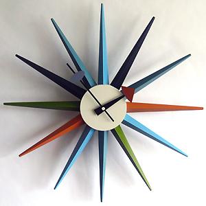 ジョージネルソンリプロダクトサンバーストクロックGeorge Nelson Sunburst Clock