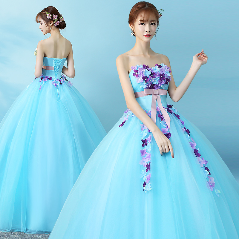 ウエディングドレス カラードレス 大きいサイズ 3L 4L ロングドレス プリンセスライン 二次会 花嫁 ウエストリボン 花柄