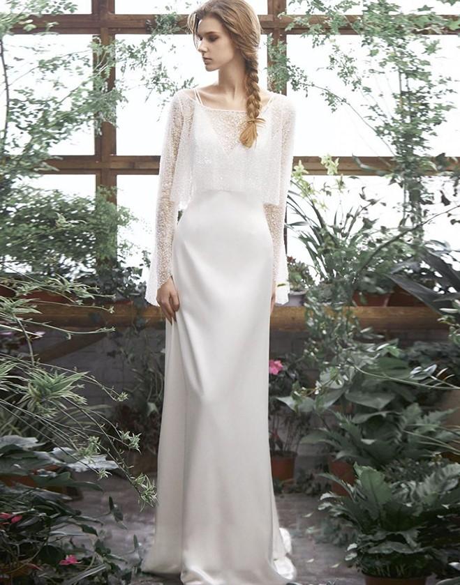 ウエディングドレス レース セットアップ 大きいサイズ 小さいサイズ スレンダーライン トレーンドレス 袖あり 長袖 Vネック 二次会 花嫁 キャミソール シンプル 結婚式