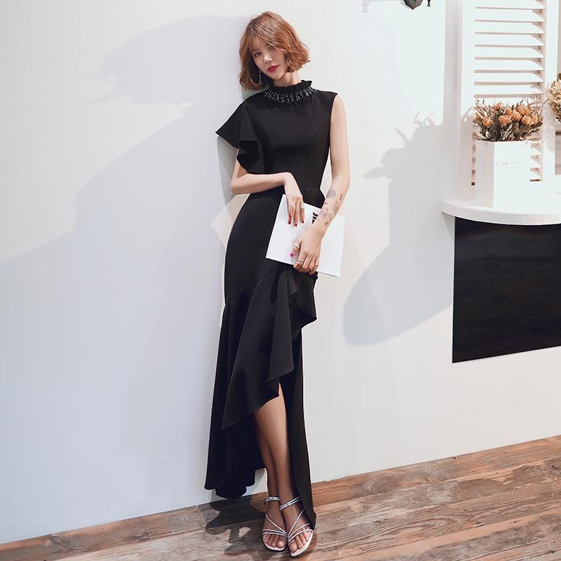 パーティードレス ロングドレス 黒 アシンメトリー フリル マーメイド セクシー エレガント 結婚式 二次会 お呼ばれ 大きいサイズ 3L 小さいサイズ ビーズ スタンドカラー ノースリーブ