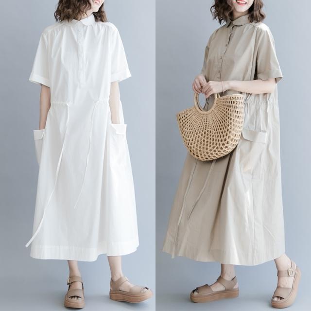 ゆったりシンプル コットン ロング ワンピース 半袖 ホワイト 白 大きいサイズ ポケット 襟 前ボタン