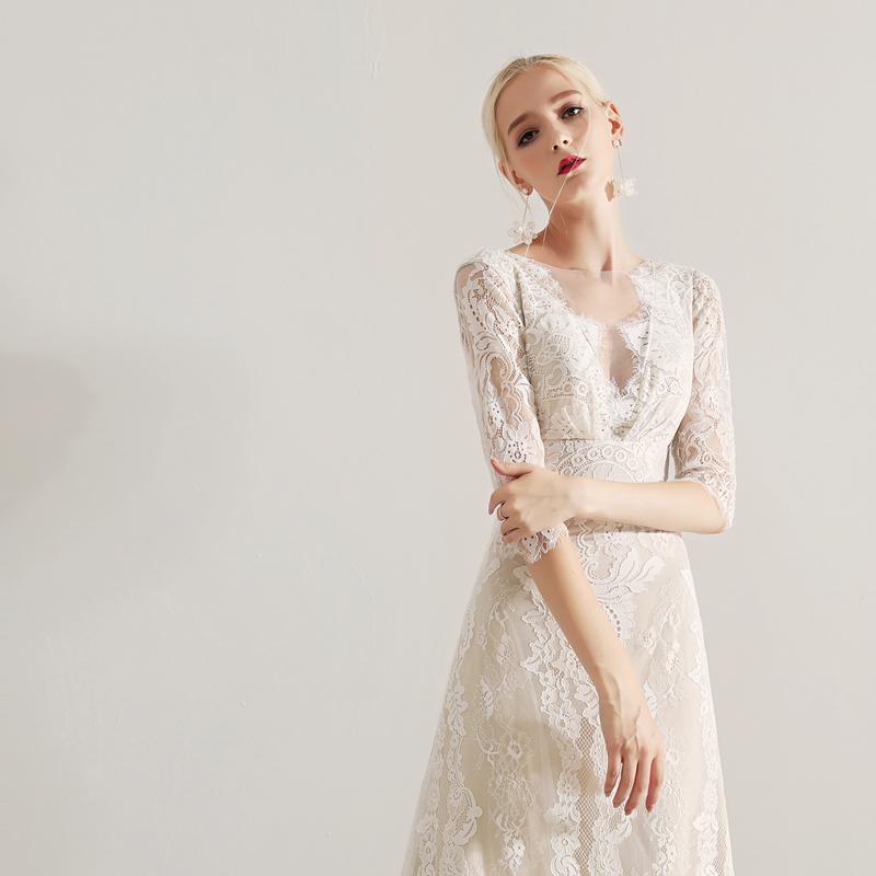 ウエディングドレス 袖あり 七分袖 ウエディング 花嫁 白 刺繍 レース パーティードレス ロングドレス ロング丈 Vネック 花柄 エレガント 二次会 総レース 透け感 フィッシュテール フェミニン 結婚式