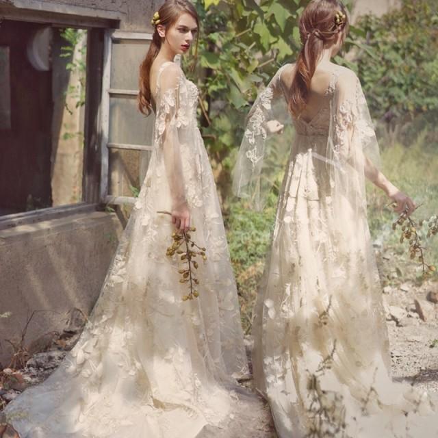 ウエディングドレス 大きいサイズ ウエディングドレス 白 二次会 花嫁 袖あり ショール袖 ロングドレス ロング丈 レース 刺繍