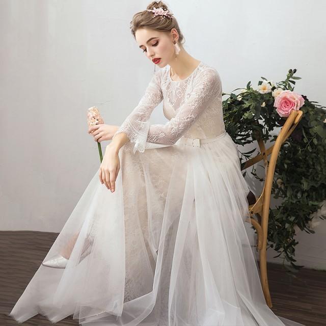 ウエディングドレス 大きいサイズ ウエディングドレス 袖あり 長袖 ウエディングドレス 白 二次会 花嫁 刺繍 レース ベールスカート