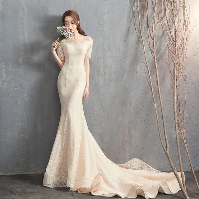 ウエディングドレス 大きいサイズ マーメイド ウエディングドレス 袖あり 白 二次会 花嫁 フィッシュテール オフショルダー レース