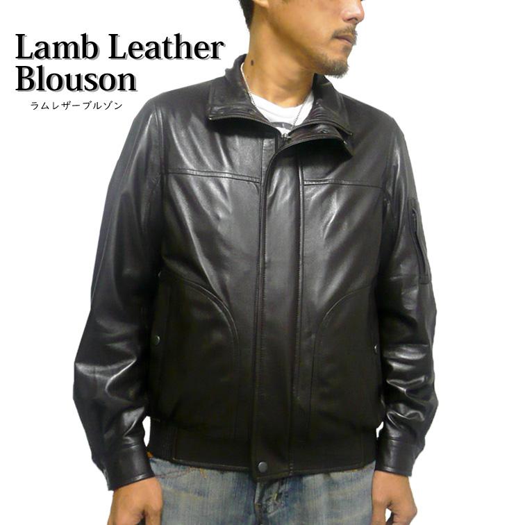 ラムレザーブルゾン(S~2L)[ジャケット][羊革][本革][比翼][小さいサイズ][メンズ][紳士]