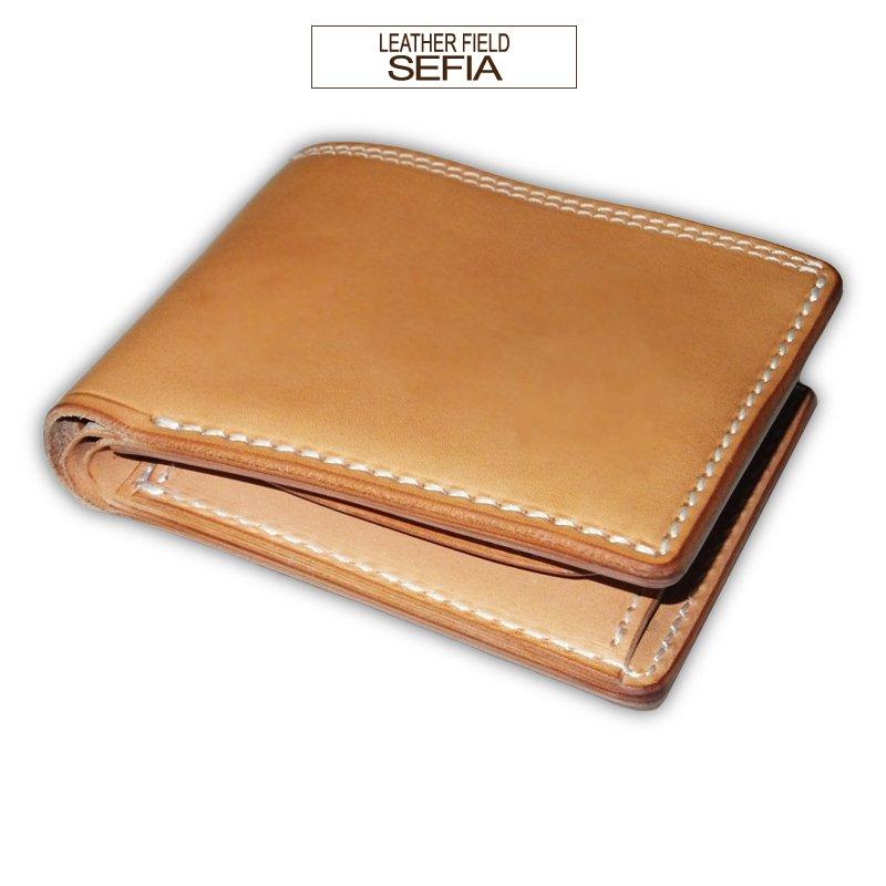 Lether field SEFIA  オイルドレザー 二つ折り財布コインポケット付