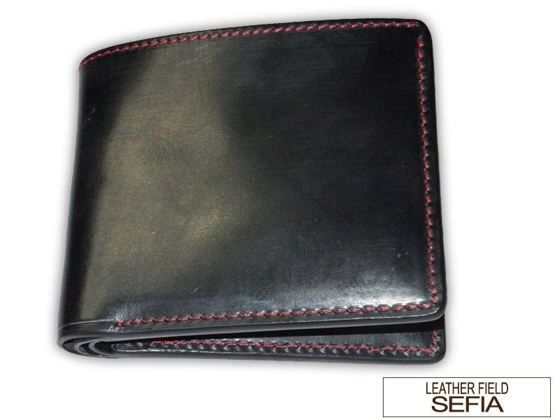 Leather field SEFIA ブライドルレザー 二つ折り財布 カード8枚収納