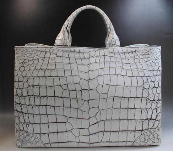 クロコダイル バッグ メンズ レディース トートバッグ バニラ染 目地染 ワニ本革 A4サイズ収納可 サイズ大 最高級品 ホワイトハンドバッグ