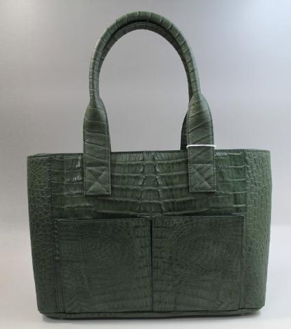 カイマン バッグ クロコダイル バッグ ハンドバッグ 前ポケット有り サイズ大 ワニ本革 グリーン