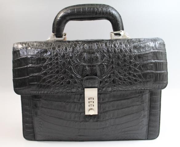 カイマン バッグ メンズ セカンドバッグ ダイヤルロック式開閉 最上級品 カイマン バック クロコダイルバッグ ワニ本革 ブラック