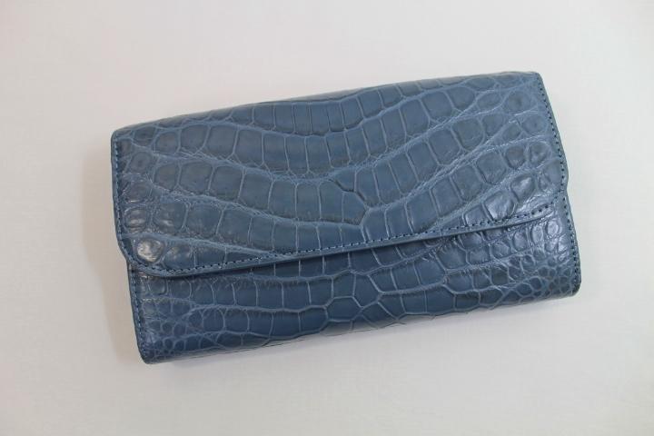 クロコダイル 長財布 メンズ レディース かぶせ式 ワニ本革財布 ヘンローン社製 上質素材使用 クロコダイル 財布 ブルージーン