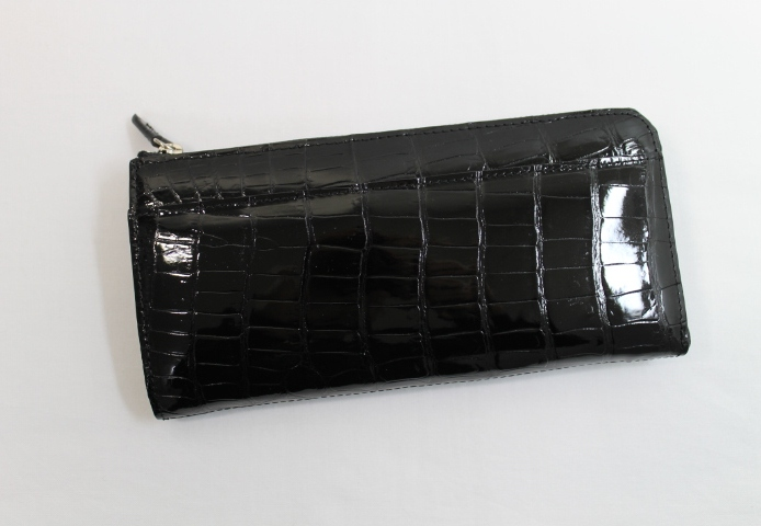 クロコダイル 長財布 シャイニング加工 L字ファスナー クロコダイル 財布 ヘンローン社製 ワニ本革 最高級 ブラック