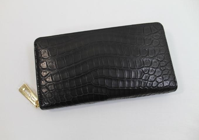 クロコダイル 長財布 メンズ レディース クロコダイル 財布 ヘンローン社製 ワニ本革 ラウンドファスナー ゴールド金具 ブラック
