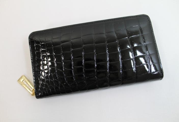 【オーダーメイド】クロコダイル長財布本物ブラックシャイニングボンベ加工最上級品クロコダイル財布ヘンローン社製ラウンドファスナー