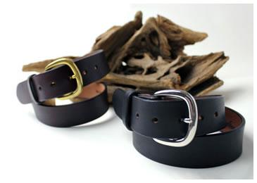 【レザーベルト】馬具でも使用するハーネス革ベルト 丸型バックル 46サイズ(牛革)