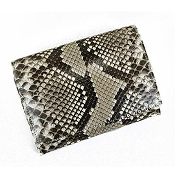 【二つ折り財布】収納力抜群の二つ折り蛇革財布(錦蛇革/日本製)
