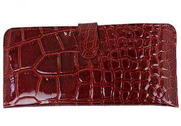 【長財布】薄マチなのに機能は充実!クロコ調型押しエナメル長財布(牛革/日本製/VIA DOAN)