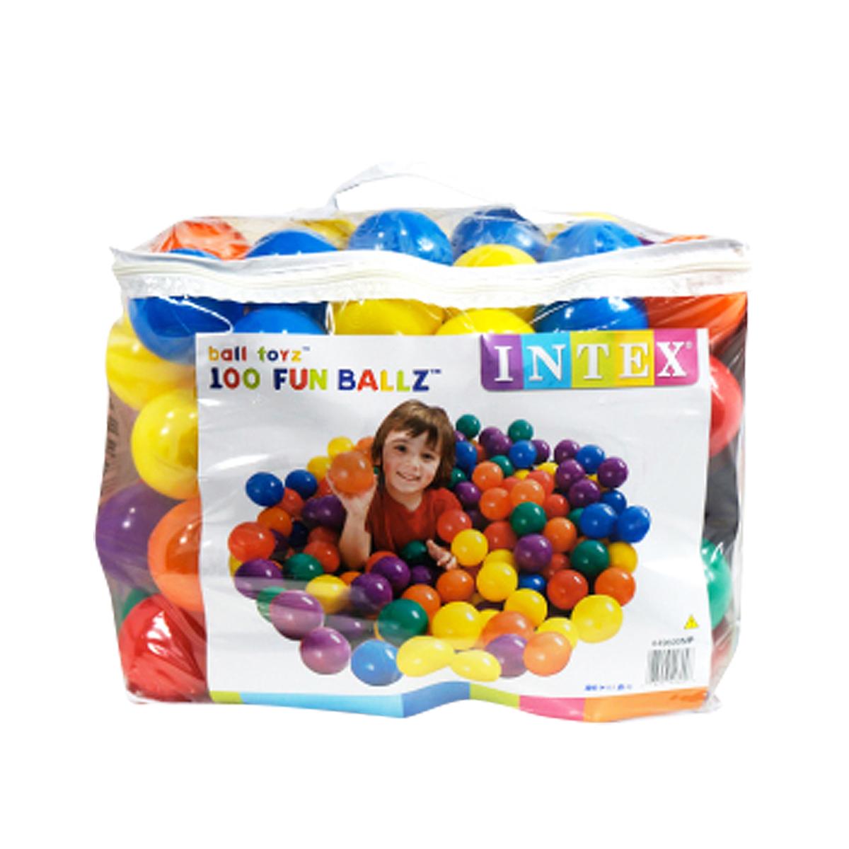 ボールプール ボール カラーボール おもちゃ 100個 80mm 収納バッグ入り INTEX社製 子供 幼児 キッズテント ボールハウス 室内 ファンボール  _85161