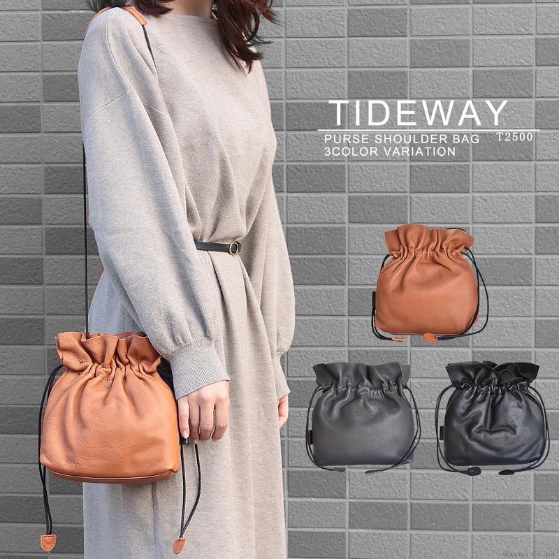 巾着 ショルダーバッグ レディース 本革 レザー 日本製 斜め掛け な斜めがけ 肩掛け かわいい 巾着バッグ 小さめ 小さい ミニショルダーバッグ 鞄 人気 ブランド TIDEWAY タイドウェイ D LEATHER 巾着SHOULDER T2500 SP06