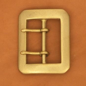 色:ブラス 40 mm用 LCオリジナル LC八角ダブルピンバックル40BR 1コ入り 真鍮製 上質 レザークラフト金具 バックル おしゃれ ハンドメイド レザークラフト ベルト クラフト 革