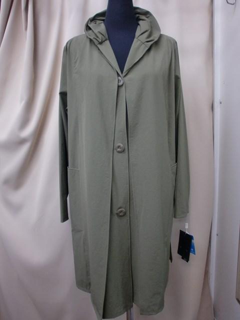 ナイロンストレッチ素材ギャザー衿コート カーキ アウトレット 新品 スプリングコート 発売モデル SALE 一重 年末年始大決算